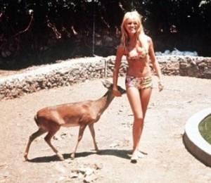 1964, Brigitte Bardot z sarną. Fot. Sam Lévin